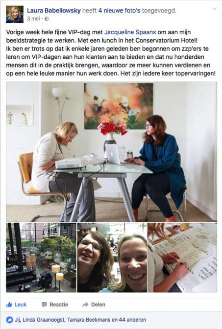 Facebook post over training effectief communiceren met beeld door Laura Babeliowsky