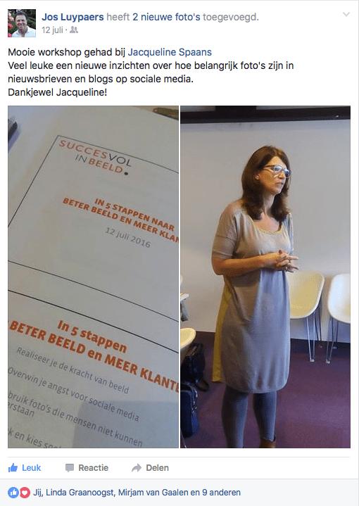Facebook post naar aanleiding van workshop In 5 stappen naar beter beeld en meer klanten