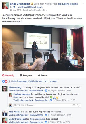 Facebook post van Linda Graanoogst over Jacqueline als spreker over beeld