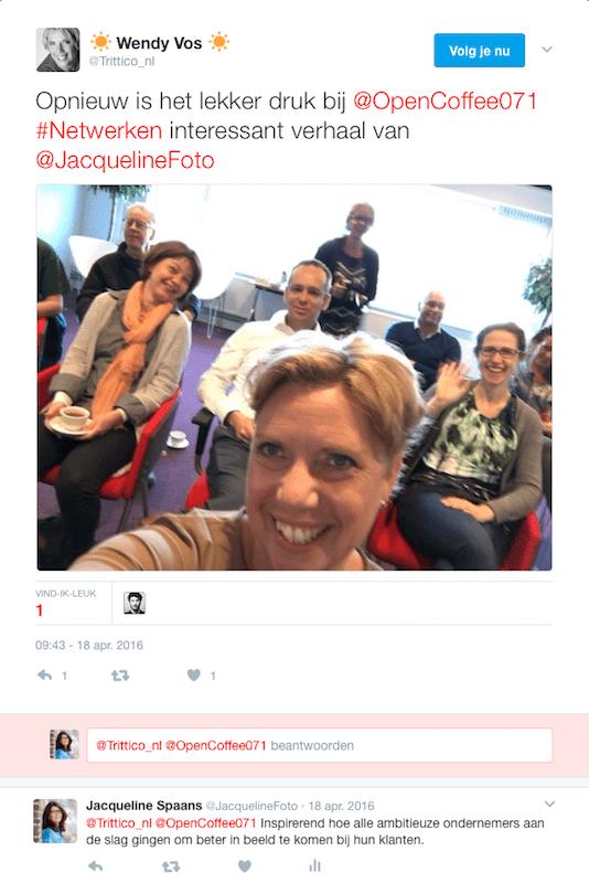 Tweet Wendy Vos over Jacqueline als spreker over beeld